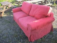 MODERN SOFA BED. TERRACOTTA RED. 3 SEATER SOFA INTO DOUBLE BED WITH MATTRESS. VIEW/DELIVERY POSS
