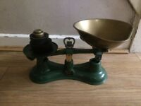 SET OF OLD SALTER SCALES WITH WEIGHTS