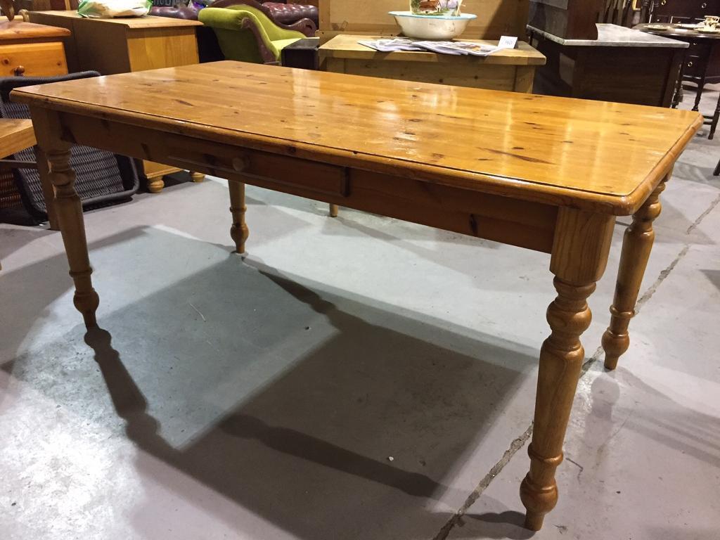 Pine Farmhouse Kitchen Table Solid Pine Farmhouse Kitchen Table With Drawer In Bridgend Gumtree