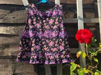 Summer crop top, purple flower pattern, size S