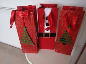 3 Red Clinton Christmas Bottle Bags