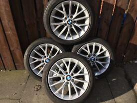 "Genuine 17"" BMW Alloys with sensors and run flat Pirelli's"