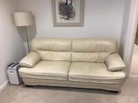 High quality cream leather 3 seater sofa