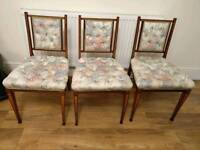 Vintage Antique Edwardian Dining Chairs with Inlaid Marquetry