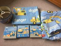 Digger bedroom set - curtains, linen, pictures & lightshade