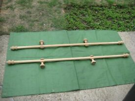Two 150 cm Wooden Curtain Poles with Finials and Brackets - £7.00 Each or 2 for £12.00