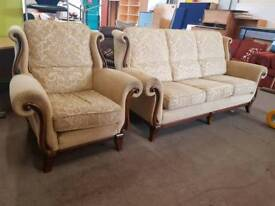 Highback fabric 3 seater and chair