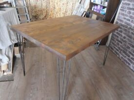 Tables & Benches Pine Top Rustic Industrial Steel Hairpin Legs. SPECIAL OFFER £95.00