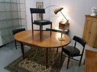 G Plan Fresco table and chairs x 4 extending mid century teak