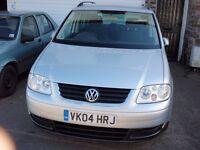 VW Touran SE TDI 2004. 7 Seats. New 12 month MOT. £2100 ono.