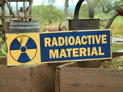 Distressed Primitive Halloween Wood Sign - Radioactive Material  5.5