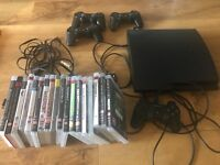 PlayStation 3 120gb slim 18 games x4 controllers