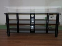 BLACK GLASS TV STAND WITH CHROME LEGS, 3 SHELVES