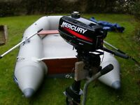 Rib boat Seago 270 with Mercury 3.3HP 2 Stroke outboard engine , oars and pump