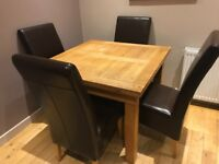 Solid Oak Extending Dining Table + 4 Chairs