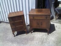 ANTIQUE MATCHING WOODEN BEDSIDE TABLES - GOOD CONDITION