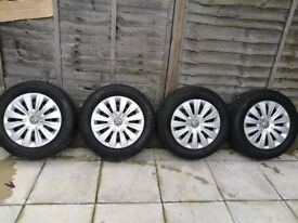 4 x VW/SEAT STEEL WHEELS AND WHEEL TRIMS *MULTIPLE SETS* 5x112 ALLOYS SPACE SAVER SPARE GOLF LEON A3