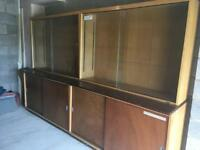 2 Solid Wood School Cabinets with Glass Front