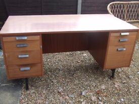 wooden desk with drawers