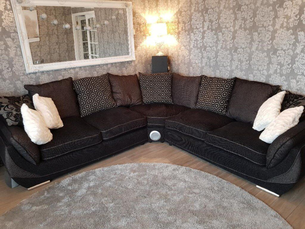 Large Corner Sofa Matching Swivel Chair Excellent Condition Very Dark Grey Loose Cushions