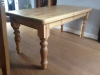 Large antique pine dining table.