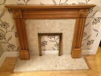 WOODEN FIRE SURROUND WITH MARBLE HEARTH AND MARBLE BACK