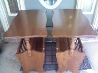 2 END TABLES WITH MAGAZINE RACKS IN EXCELLENT CONDITION