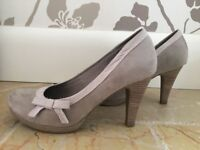 Marco Tozzi Beige/Cream High Heels. Barely worn. Suede. Boxed. Size 4