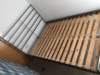 Strong steel frame and Oakwood bed with double mattress included *delivery options available