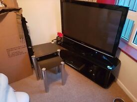 Nest of 2 x black glass side tables