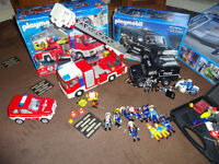Large bundle of Playmobil police and fire service - police station van fire engine +more