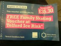 Family Ice skating voucher - Telford Ice Rink - VALID ANY DAY