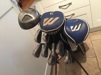 Golf clubs-Titleist Driver-Mizuno 3 & 5 Woods-Nike CCI Irons-John Letters golf bag (as new) - & more