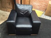 Black Leather 3 Seater Sofa, Chair and Footstool