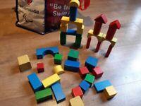Wooden play blocks