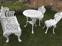 Cast iron bench table & chair set