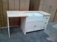 Wood living Solid Pine Belfast Sink Base Unit + Appliance Housing