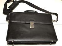Osborne - Brown leather single buckle briefcase