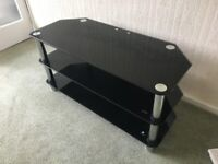 tv stand - glass 3-tier in black and chrome