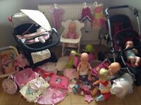 Baby dolls, prams and accessories