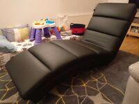 Leather chaise black - bought originally from Furniture village (hardly been used)