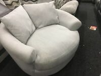 New/Ex Display Dfs Grey Love, Cuddle, Swivel Sofa Chair
