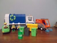 Playmobil REFUSE / BIN LORRY + RECYCLE TRUCK + ROAD SWEEPER WITH BINS & MEN