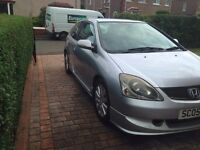 Honda Civic Sport, 1.6 Vtec, 3 door hatchback. Silver with Leather interior. 2005.