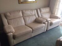 2 seater and chair cream leather settee