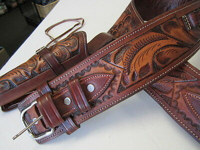 CALIBER 44/45 LONG BARREL COWBOY FAST DRAW GUN HOLSTER TOOLED LEATHER RIGHT HAND ()