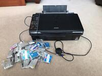 Epson Stylus SX215 printer scanner copier all-in-one A4 Inkjet and 24 ink cartridges