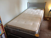 Single metal framed bed with mattress - good condition