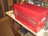Six Draw Lockable tool chest tool box with various tools. in very good condition.