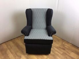 Grey Patterned Wing Chair